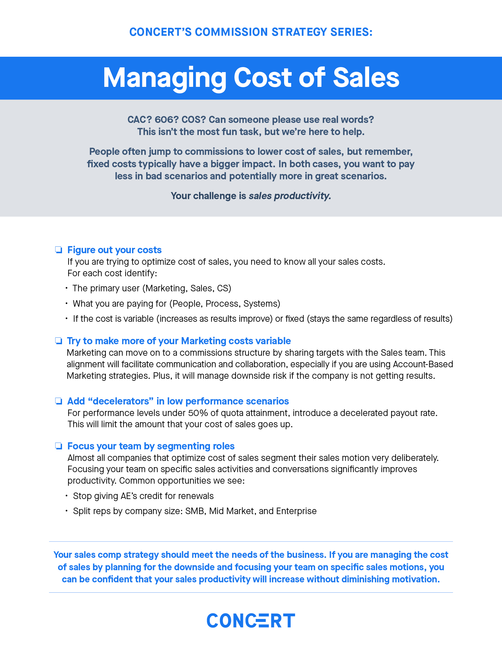 Commission Strategy: Managing Cost of Sales